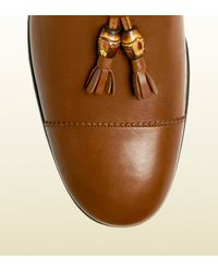 Gucci - Brown Leather Loafer with Bamboo Tassels for Men - Lyst