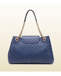 Gucci - Blue Emily Ssima Leather Shoulder Bag - Lyst