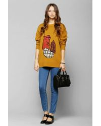Urban Outfitters - Brown Bdg Fuzzy Friend Sweater - Lyst