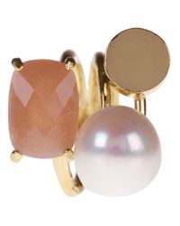 Wouters & Hendrix | Multicolor Sunstone and Pearl Ring | Lyst