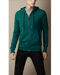 Burberry - Blue Cashmere Hooded Top for Men - Lyst