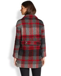 Burberry Brit - Red Doublefaced Wool Coat - Lyst