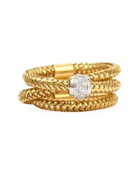 Roberto Coin | Metallic Primavera 18k Yellow Gold Ghsi Diamond Triplerow Ring 010tcw | Lyst