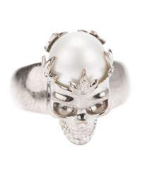 Alexander McQueen | White Skull Pearl Ring | Lyst