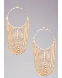 Bebe | Metallic Fringe Hoop Earrings | Lyst