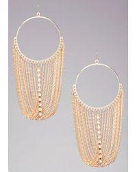 Bebe | Metallic Fringe Hoop Earrings | Lyst