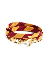 Brooks Brothers | Metallic Kiel James Patrick Gold And Burgundy Bb#4 Stripe Wrap Bracelet for Men | Lyst