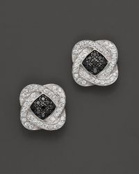 Charriol - 18k White Gold Earrings With White And Black Diamonds, .50 Ct. T.w. - Lyst