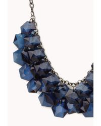 Forever 21 - Blue Glam Faceted Stone Bib Necklace - Lyst