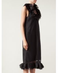 Lanvin | Black Ruffle Trim Dress | Lyst