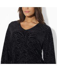 Lauren by Ralph Lauren - Black Long Sleeved Velvet Tunic - Lyst