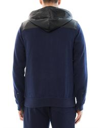 Marc By Marc Jacobs - Blue Thompson Leather Trimmed Sweatshirt for Men - Lyst
