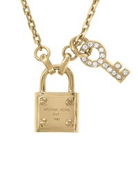 Michael Kors | Metallic Lock and Pave Key Pendant Necklace 16 | Lyst