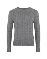 Polo Ralph Lauren | Gray Suede-trim Silk-blend Sweater for Men | Lyst
