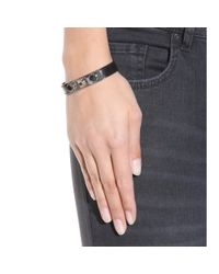 Saint Laurent - Black Leather And Silver-tone Bracelet - Lyst