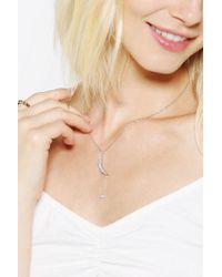 Urban Outfitters - Metallic Natalie B Jewelry Pave Moon Charm Necklace - Lyst