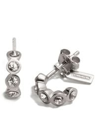 COACH | Metallic Sterling Sliding Stones Huggie Earrings | Lyst