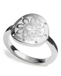 COACH | Metallic Sterling Signature C Disc Ring | Lyst