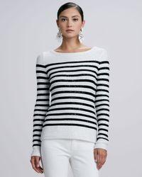 Oscar de la Renta - Black Striped Sequined Longsleeve Sweater - Lyst