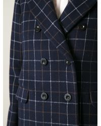 Sacai - Blue Padded Checked Coat - Lyst