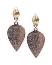 Lucky Brand | Metallic Silvertone and Goldtone Stone Drop Earrings | Lyst