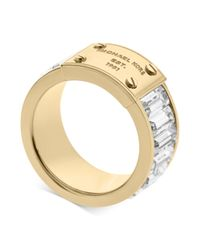 Michael Kors - Metallic Goldtone Plaque and Crystal Baguette Ring - Lyst