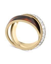 Michael Kors | Metallic Goldtone Tortoise Baguette Crisscross Ring | Lyst