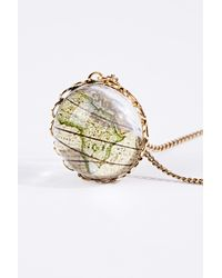 Urban Outfitters Metallic 3d Globe Pendant Necklace