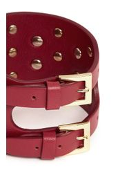 Valentino | Red 'rockstud' Wide Leather Bracelet | Lyst