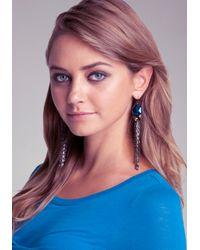 Bebe - Gray Bead Chain Linear Earrings - Lyst