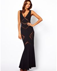 bd1ac18ec55 Lyst - Forever Unique Plunge Neck Maxi Dress with Mesh Inserts in Black