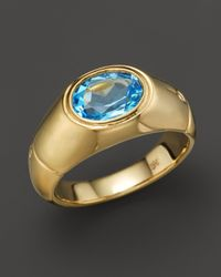 John Hardy | Metallic 18k Gold Bamboo Signet Ring With Swiss Blue Topaz | Lyst