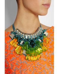 Matthew Williamson - Green Opulent Beaded Bib Necklace - Lyst