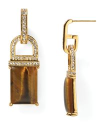 Rachel Zoe - Metallic Square Drop Earrings - Lyst
