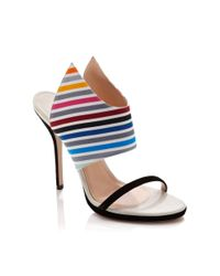 Tanya Taylor - Multicolor Nya Rainbow Stripe Stiletto Sandals - Lyst