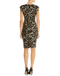 Karen Millen - Gray Jacquard Lace Effect Dress - Lyst