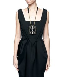 Lanvin | Metallic Square Pendant Necklace | Lyst