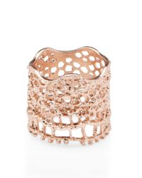 Aurelie Bidermann | Metallic Rose Gold Laser Cut Lace Ring | Lyst