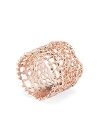 Aurelie Bidermann - Metallic Rose Gold Laser Cut Lace Ring - Lyst
