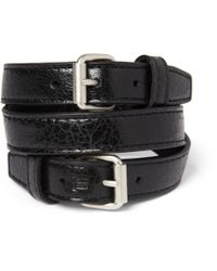 Balenciaga | Black Wrapped Creased-Leather Bracelet for Men | Lyst