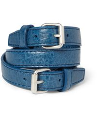 Balenciaga | Blue Wrapped Creased-leather Bracelet for Men | Lyst