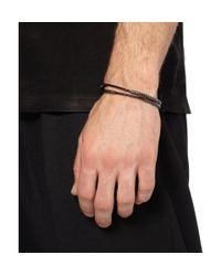 Lanvin - Black Leather and Wrapped Metal Bracelet for Men - Lyst