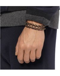 Lanvin - Brown Leather and Burnishedmetal Bracelet for Men - Lyst