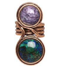Oscar de la Renta - Multicolor Teal Two Stone Ring - Lyst
