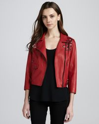 Rebecca Minkoff - Red Wes Studded Motorcycle Jacket - Lyst