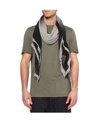 Rick Owens - Gray Patterned Wool, Silk And Cashmere-Blend Scarf for Men - Lyst