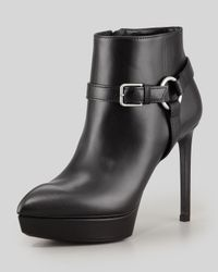 Saint Laurent | Black Leather Platform Harness Bootie | Lyst