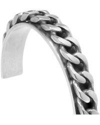 Saint Laurent - Metallic Chain Embellished Sterling Silver Bracelet for Men - Lyst