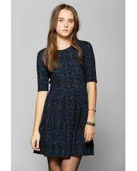 Urban Outfitters - Blue Cooperative Pleated Fit Flare Dress - Lyst