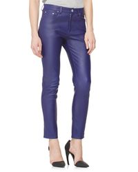 Acne Studios - Blue Skinny Leather Ankle Pants - Lyst